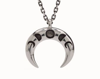 Double Horn Necklace in Sterling Silver Moon Phases Charm Horns Boho Jewelry - FPE025SSO