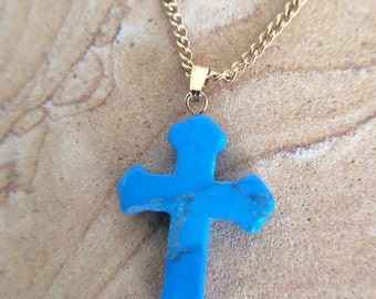 Turquoise Howlite Cross Shaped Carved Gemstone Pendant, Tumble Polished Stone Necklace on Gold Chain, Healing Stones, Christian Jewelry