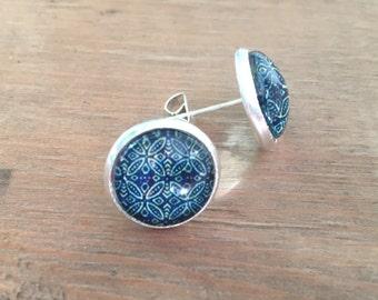 Earrings; cabochons 12mm on metal studs, reason mandalas