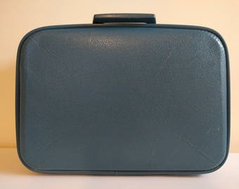 Vintage Small Blue Suitcase.