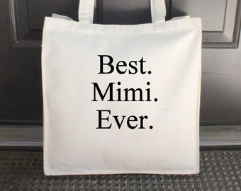 "Best Mimi Ever Bag, Natural, Canvas Tote Bag, Beach Bag, Embroidered, 14"" x 15"" (Black/Times New Roman Font) ***READY to SHIP!"