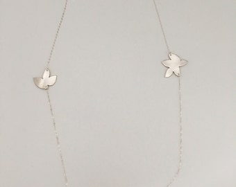 3 petals necklace, long necklace, layered, fine silver and sterling silver chain
