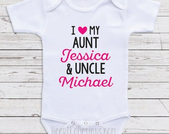 Aunt uncle onesie etsy personalized baby clothes i love my aunt and uncle custom baby onesie for negle Choice Image