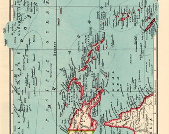 New GUINEA and SOLOMONS Antique MAP 1949 John Bartholomew