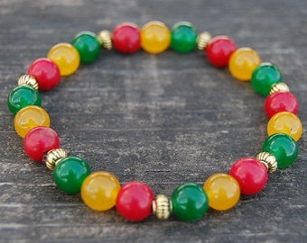 Rasta Bracelet,Gemstone 8mm Beads,Red Green Yellow Stones,Reggae Bracelet,Good Luck Bracelet,Man,Woman,Yoga Bracelet, Protection, Meditation