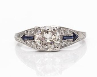 Circa 1912 Early Deco Old European Diamond & Sapphire Platinum Engagement Ring, ATL#595