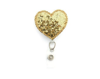 Glitter Heart Badge reel- Bling Badge Reel - Gold Badge Reel - Social Work Badge Reel  - Nurse's Badge Reel - Gifts Under 20 - Christmas Bad