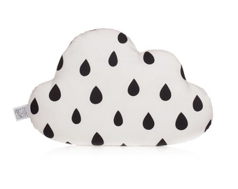 Cloud Pillow, Cloud Cushion With Black Drops, Kids Pillow, Decorative Pillow, Kids Room Decor, Baby Bedding, Monochrome.