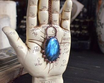 Blue LABRADORITE pendant, electroformed necklace, statement pendant, dark patina, electroplated galvanized, copper jewelry, navy dark blue