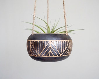 Made to Order | Geometry Black hanging planter for airplants or succulents by Mud to Life