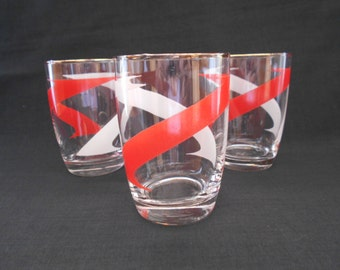 Vintage Lemonade Glasses or Tumblers with Red and White Cross Hatching - Set of Three   #10221