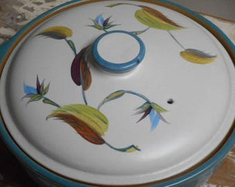 """Collectable Denby England 1950s Casserole Dish -  """"Spring"""" Pattern"""