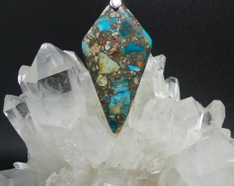 Blue Sea Sediment Jasper Spade Pendant.