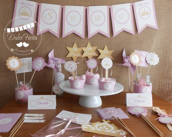 Printable little Princess,Little Princess Baby Shower Party,Party Pack,Gold and Pink,Kit imprimible Little Princess
