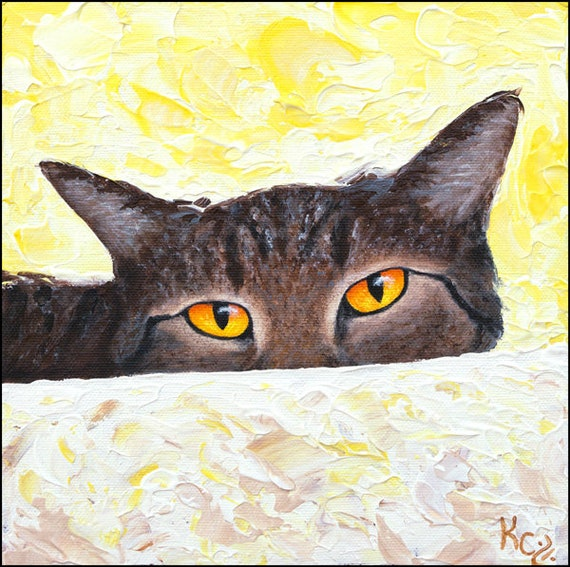 """Cat Art Print - Cat Lover Gift, Cat Gifts for Cat Lovers, Tabby Cat Artwork, Cat Portrait, Cat Print of My Cat Painting """"Watching You"""""""