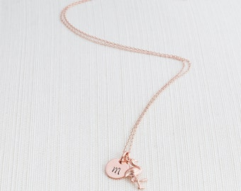 Rose Gold Initial & Flamingo Necklace, Initial Jewelry, Rose Gold Plated Disc Necklace,  Rose gold Flamingo Necklace,  A great gift idea