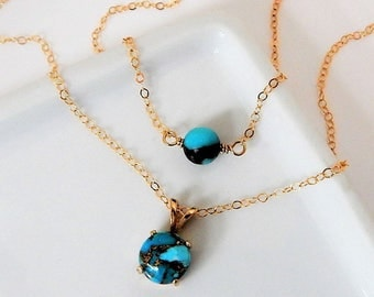 Turquoise Necklace • Blue Copper Turquoise Necklace • Layered Turquoise • Gold Turquiose Necklace • Girlfriend Gift • Minimal Necklace [409]