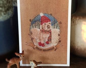 Groodle Merry Christmas Card