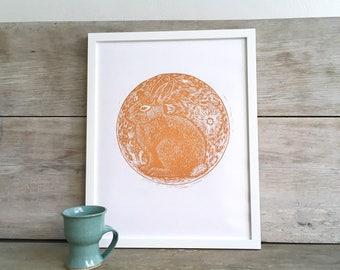 Moon Rabbit Linocut Art Print, Copper Orange