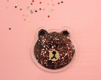 Brown Bear Shiny Beads Brooch Pin and Patch Shakable