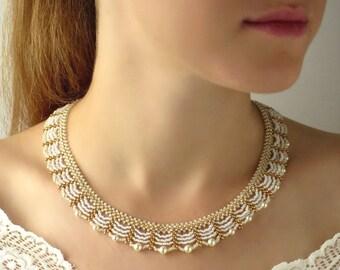 wedding necklace bridal jewelry, Bridal necklace pearl, Pearl bead necklace, Seed bead necklace, Swarovski pearl necklace, Beaded necklace
