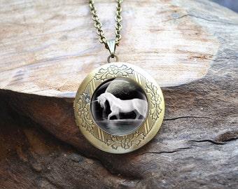 Unicorn Necklace, Unicorn Locket Necklace, Handmade Photo Locket Pendant, Full Moon Picture Jewelry