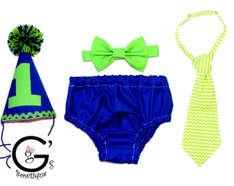 Blue & Green Smash Cake Smash Birthday Outfit baby boys Toddler Photo Prop Bow Tie