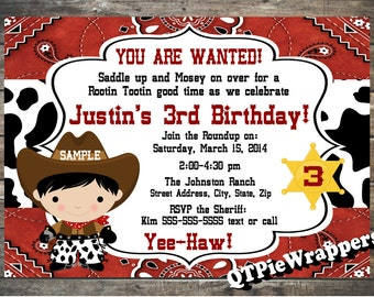 Printable 5x7 Cowboy Birthday Party Invitation Personalized Lil Buckaroo Western Theme