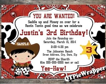Printable 5x7 Cowboy Birthday Party Invitation Personalized Lil Buckaroo Western Theme