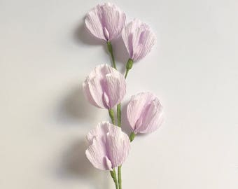 Crepe Paper Sweet Pea, Lilac, Single Stem, Paper Flowers, Wedding, Events, Home Decor, Gifts