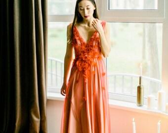 Red wedding dress, Long red dress, Red evening dress, Red prom dress, Red gown, Flower dress, Neckline Dress, - 2017 // 0101