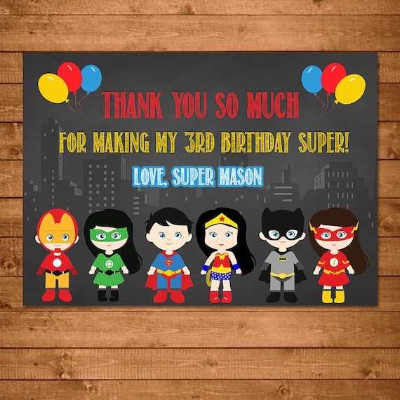 Superhero Boys & Girls Thank You Card Chalkboard Theme Illustrated -- Superhero Thanks -- Superhero Birthday -- Superhero Party Favors Kids