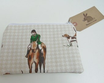 Handmade Horse Mini Makeup Bag, Horse Riding, Country Sports, Horse and Hound Makeup Brush Bag