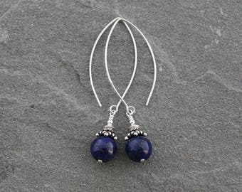 Lapis Lazuli Earrings, Lapis Earrings, Dark Blue Dangles, Lapis Lazuli Jewelry, Long Lapis Dangles, Sterling Silver