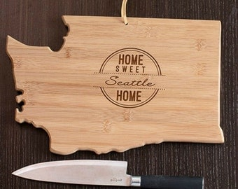 Washington State Shaped Cutting Board, Engraved Washington Shaped Cutting Board