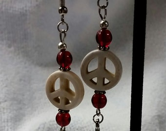 Peace Sign Silver feather Dangles