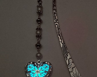 Aqua Glow In The Dark Bookmark - Heart Glowing Bookmark - Teacher Gift - Gifts For Her