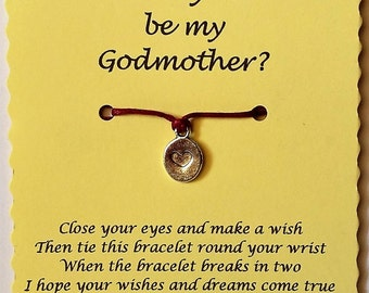 Will you be my Godmother, Ask Godmother, Wish Bracelet, Godmother proposal, Godparent Gift, Be my Godmother, Godmother gift, Christening