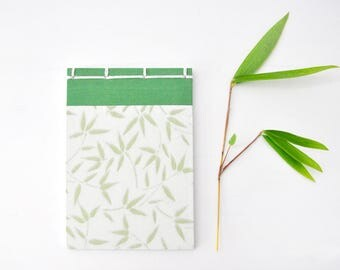 Japanese Notebook, small, hand bound, green, white, bamboo, stab binding - Journal, Diary, Sketchbook, Travel Book, bamboo paper