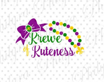 Krewe of Kuteness Mardi Gras, Bow Mardi Gras Svg, Girl Mardi Gras Svg, Digital Cutting File DXF