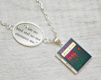 """Jane Eyre Book Locket Charm by Charlotte Bronte Quote Jewelry Jewellery Necklace / Bracelet """"I am no bird and no net ensnares me"""""""