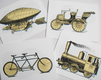 Bike notecards, train notecards, zeppelin notecards, car notecards, blank note cards, note card set, A2 note cards