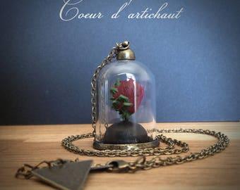 """Bijoux Collier mini-terrarium en verre """"Expression du coeur"""" - coeur d'artichaut -"""