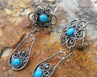 Mexican Sterling Silver Filigree and Turquoise Old World Dangle Earrings