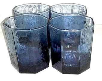 Vintage Libbey Double Old Fashioned,Set of 4,Facets,Rocks,Blue Lowball Glass,Mid Century,Libbey,Mad Men,MCM,Barware,Libbey Glassware,Octagon