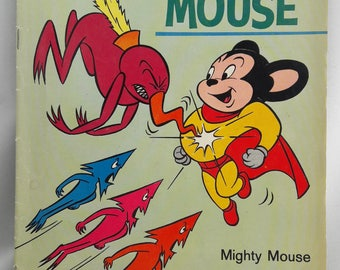 Mighty Mouse - Target for the Dart Men of the Moon! | Vintage Comic Book | 1965 Cartoon Illustrations | Gold Key Comics