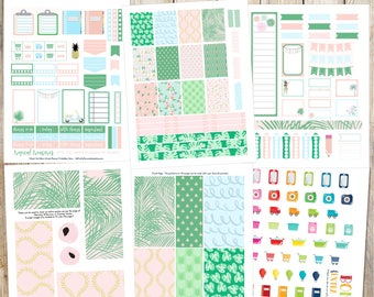 Tropical Treasures Printable Planner Stickers - 6 Full Pages!  (Made to fit The Happy Planner by MAMBI - Create 365)