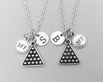 Best friend necklace, billiards rack neckalce, personalized necklace, bff necklace, billiards charm necklace, initial necklaces, monogram