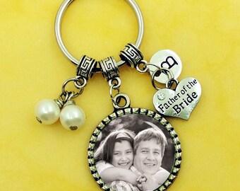 Father of the bride keychain, custom wedding keychain, wedding keyring, custom any text or photo, personalized keychains, photo keychain