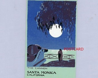 "Original Serigraph Postcard, Santa Monica, California ""The Cannon"", Dramatic Scene"